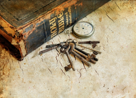 Bible Watch And Keys On A Grunge Background
