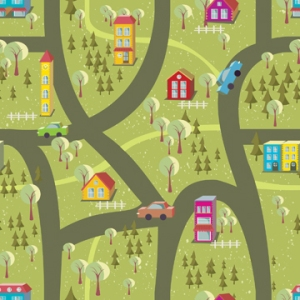 Cartoon Map Seamless Pattern 2